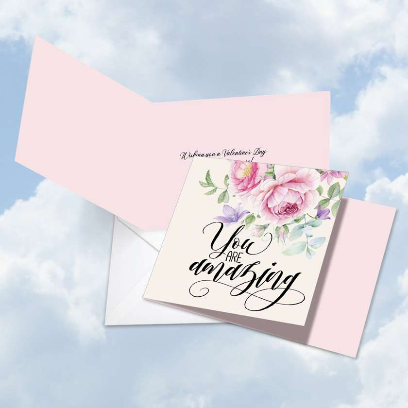 You Are Amazing: Stylish Valentine's Day Square-Top Paper Card