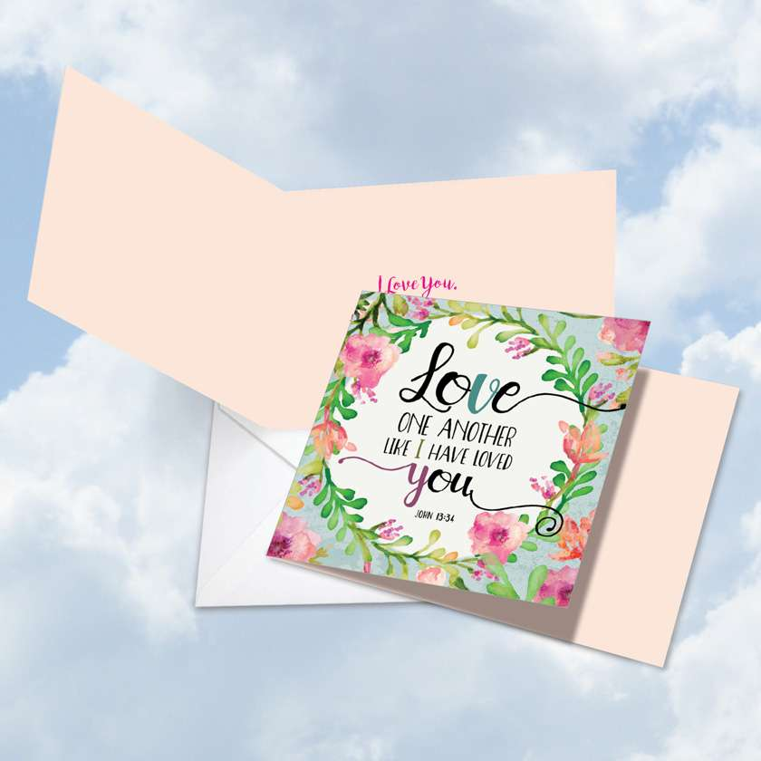 Love One Another: Stylish Valentine's Day Square-Top Paper Card