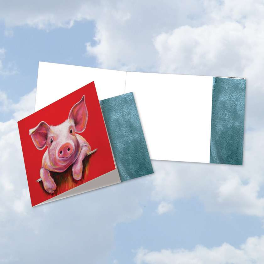 Animal Magnetism-Pig: Creative All Occasions Blank Square-Top Printed Card