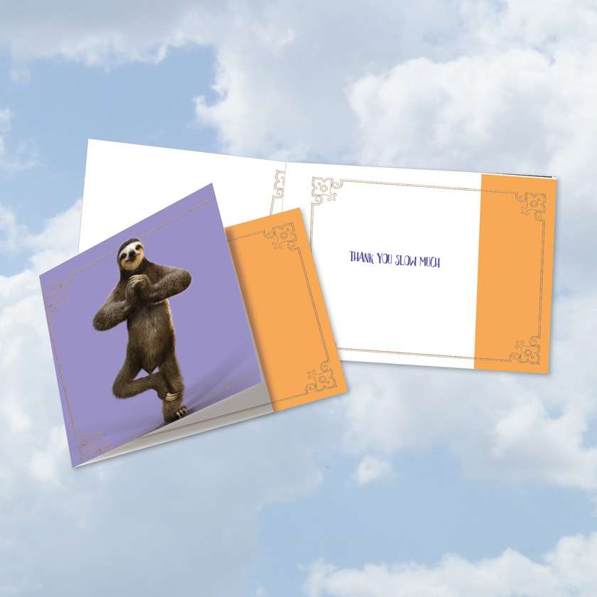 Sloth Yoga: Creative Thank You Square-Top Greeting Card