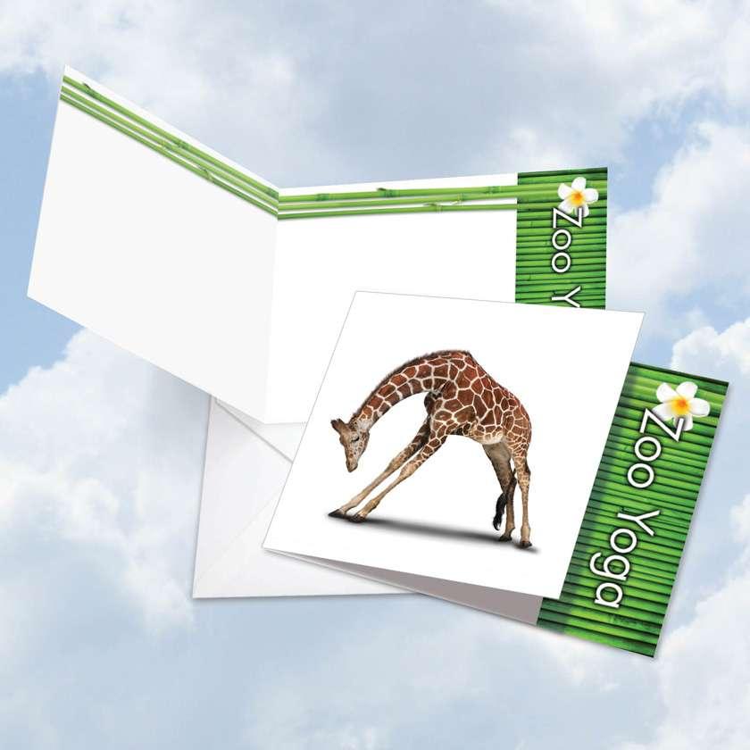 Zoo Yoga - Giraffe: Stylish Blank Square-Top Printed Greeting Card