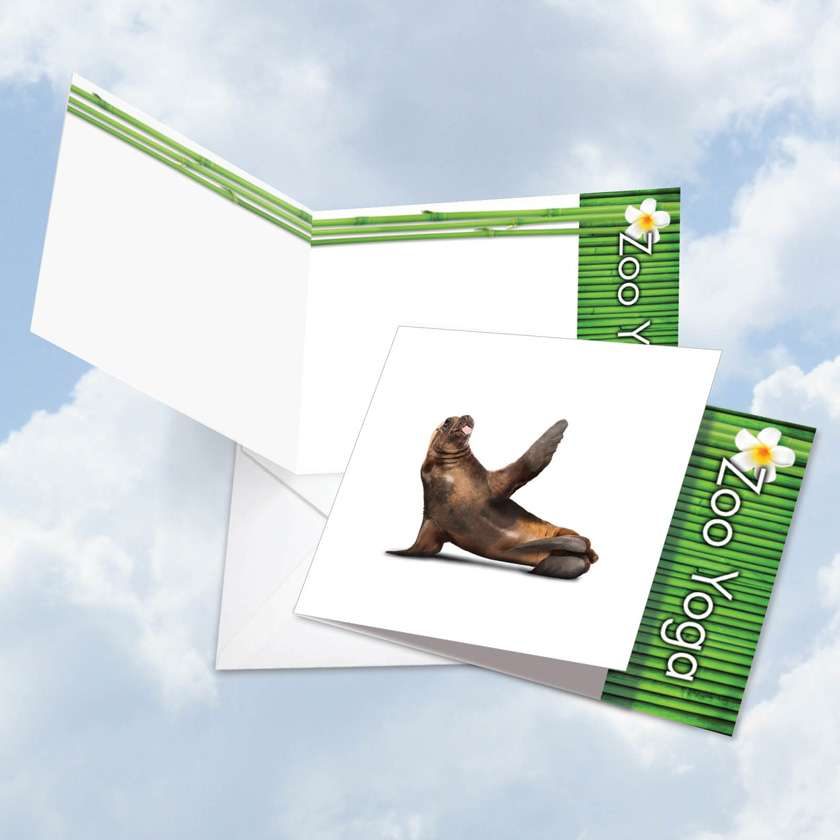 Zoo Yoga - Seal: Creative Blank Square-Top Paper Card
