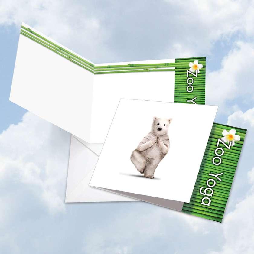 Zoo Yoga - Polar Bear: Stylish Blank Square-Top Printed Card