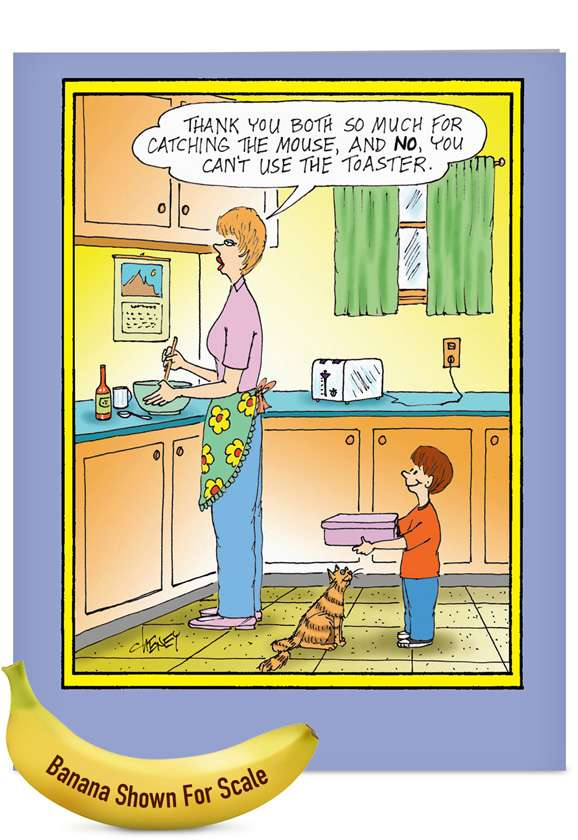Catch the Mouse: Hilarious Mother's Day Jumbo Printed Card