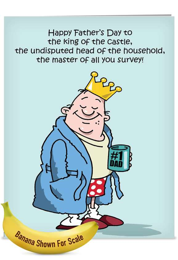 King of the Castle: Funny Father's Day Jumbo Paper Card