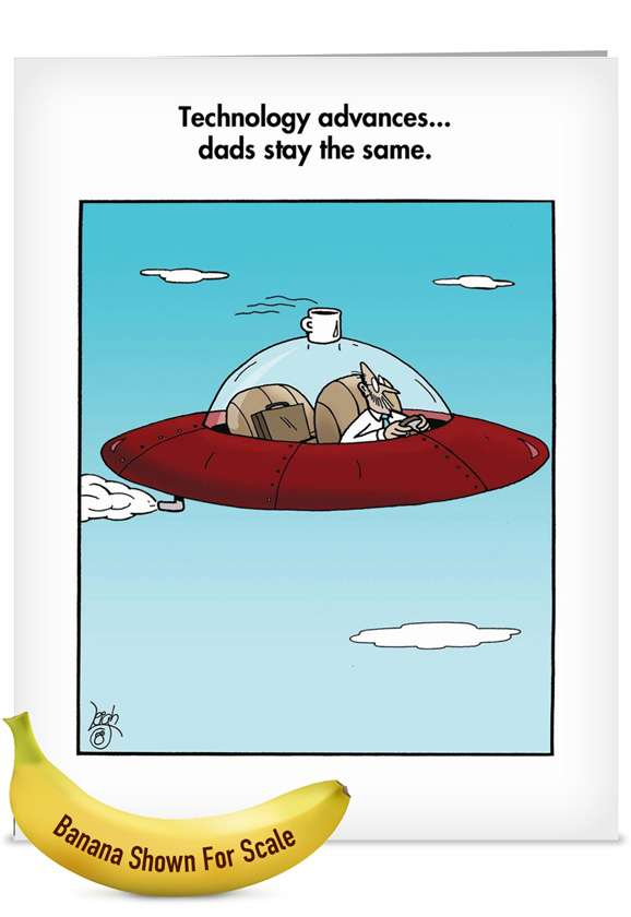 Cup On Saucer: Hilarious Father's Day Jumbo Printed Greeting Card