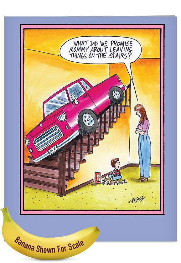 Leaving Things on Stairs: Hilarious Mother's Day Jumbo Printed Card