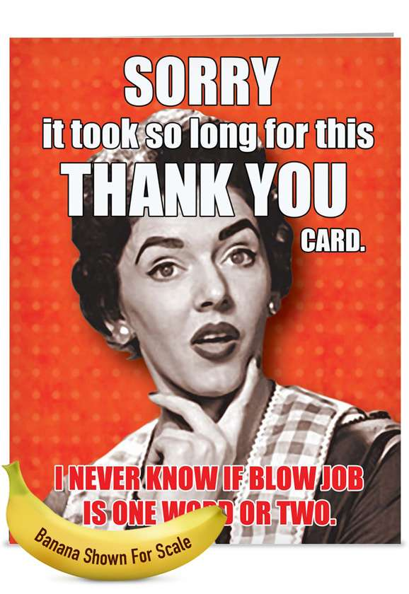 One or Two Words: Hysterical Thank You Jumbo Paper Card