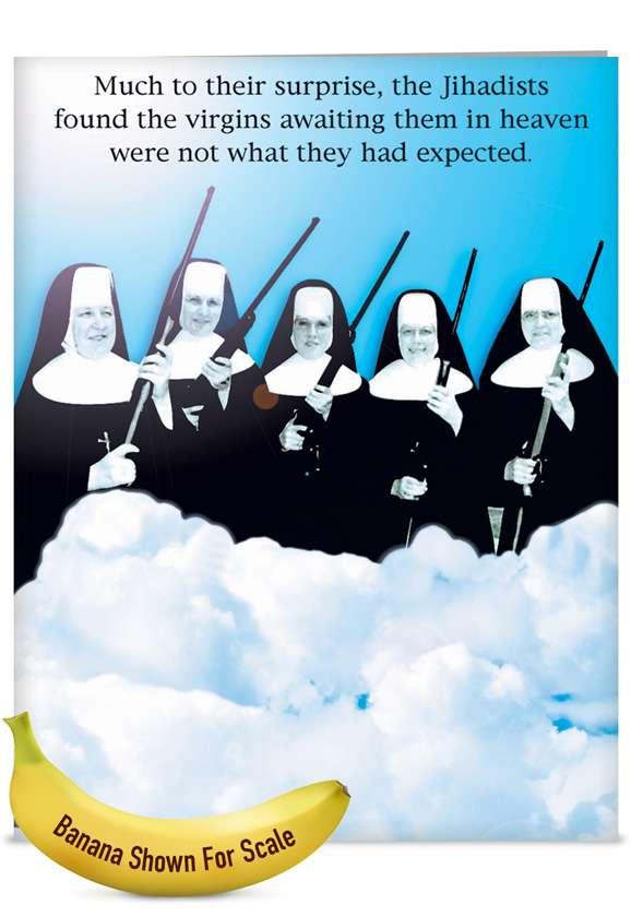 Virgins In Heaven: Humorous Blank Jumbo Printed Greeting Card
