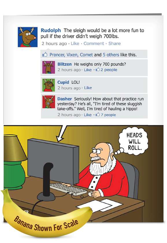 Heads Will Roll: Funny Christmas Jumbo Printed Greeting Card