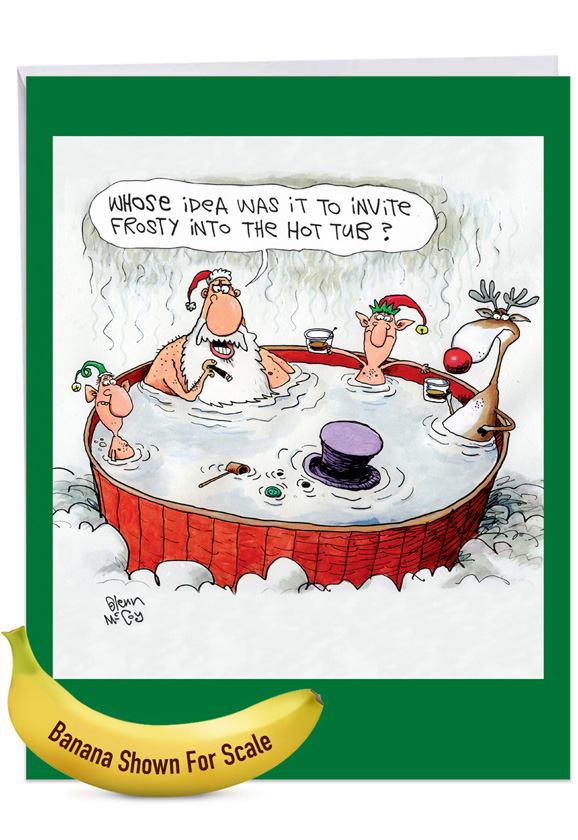 Invite Frosty: Hilarious Merry Christmas Large Greeting Card