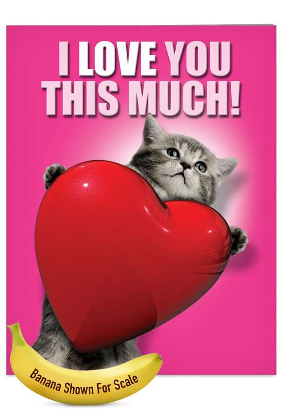Love You This Much Cat: Hilarious Blank Jumbo Paper Card