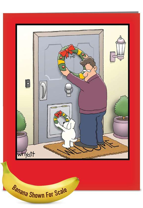 Dog Wreath: Humorous Christmas Jumbo Printed Card