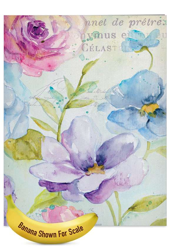 Cool Blossoms: Stylish Get Well Jumbo Greeting Card