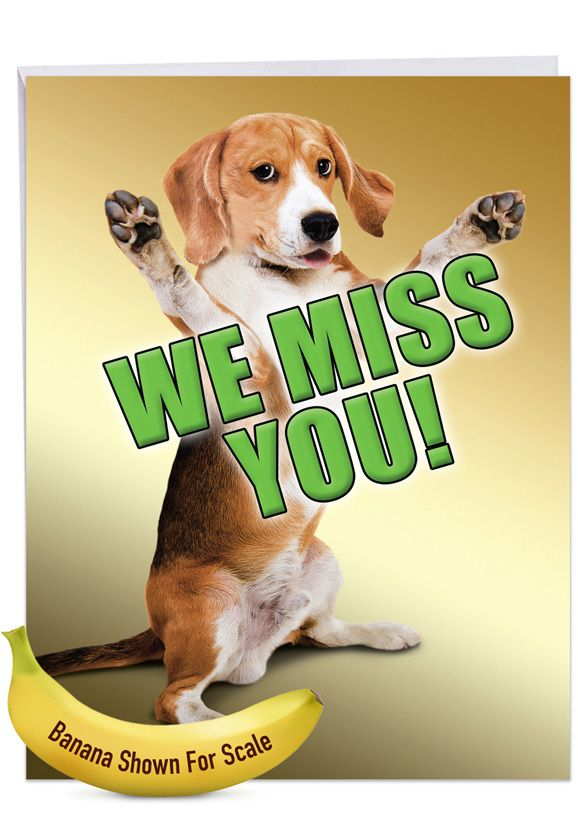 Miss YouThis Much Dog: Stylish Miss You Over-sized Paper Greeting Card