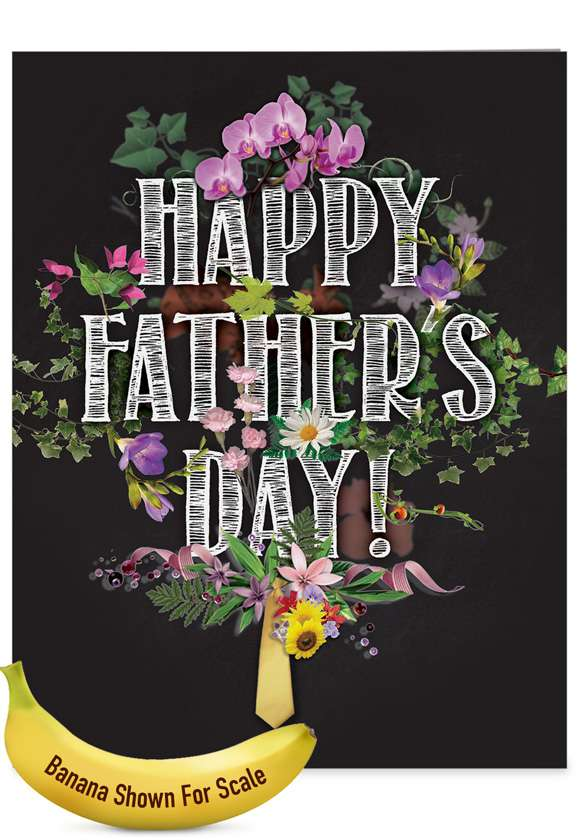 Chalk And Roses - Grandpa: Stylish Father's Day Grandpa Over-sized Paper Greeting Card
