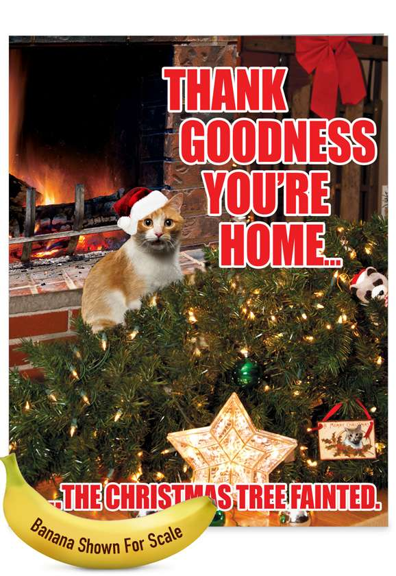 Tree Fainted-Cat Christmas Humor Card: Hilarious Merry Christmas Large Greeting Card