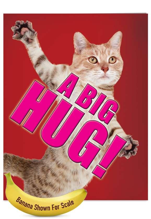 A Big Hug-Cat: Humorous Blank Jumbo Printed Card