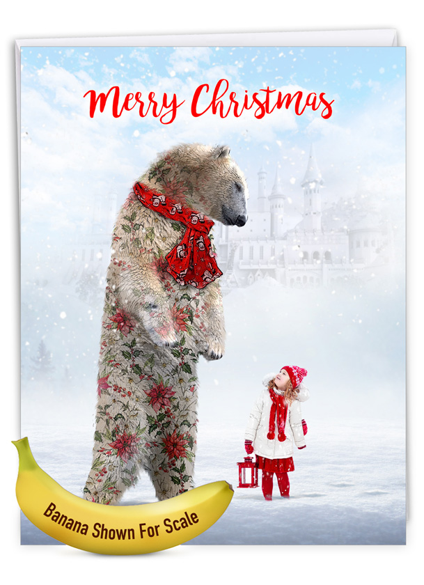 Patterned Animals - Bear: Creative Merry Christmas Jumbo Printed Greeting Card