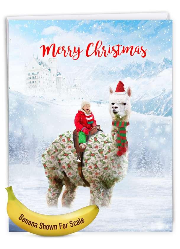 Patterned Animals - Llama: Stylish Merry Christmas Big Card