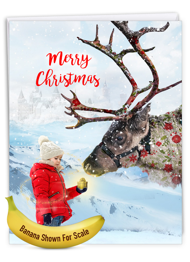 Patterned Animals - Reindeer: Creative Merry Christmas Large Greeting Card
