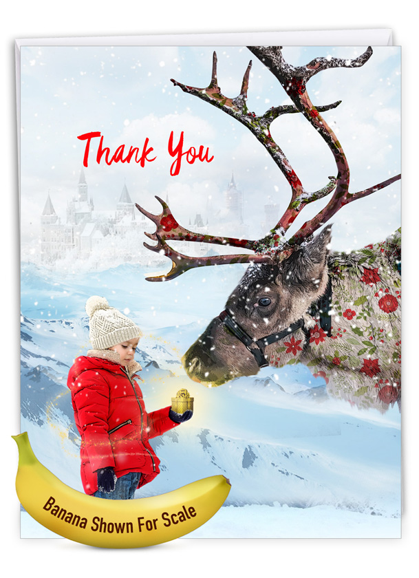 Patterned Animals - Reindeer: Stylish Christmas Thank You Extra Large Paper Card