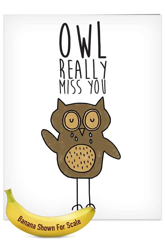 Fun Puns: Stylish Miss You Jumbo Printed Greeting Card