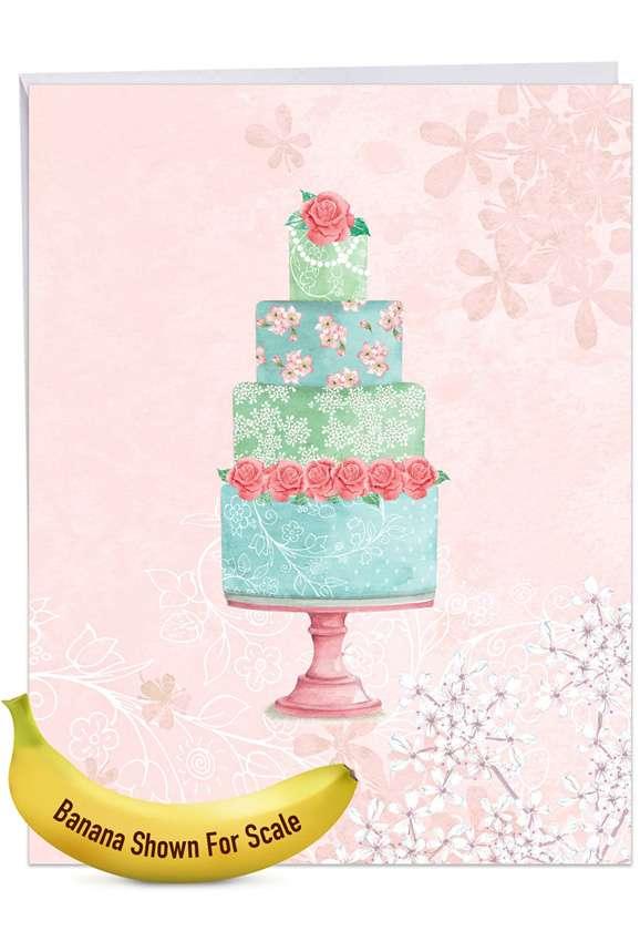 WATERCOLOR CAKE: Creative Wedding Congratulations Giant Printed Card