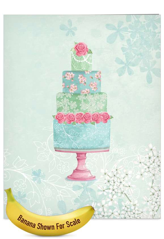 Watercolor Cake: Creative Wedding Jumbo Paper Greeting Card