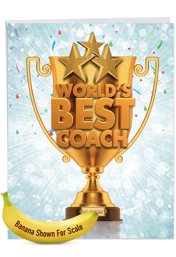 World's Best Coach: Humorous Thank You Extra Large Paper Card