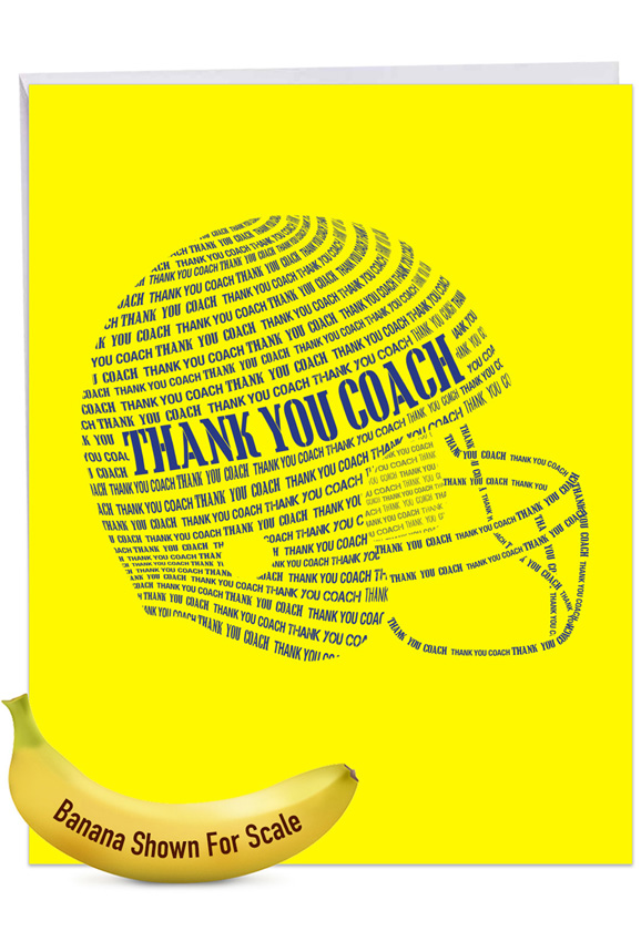 Football Helmet: Stylish Thank You Over-sized Paper Greeting Card