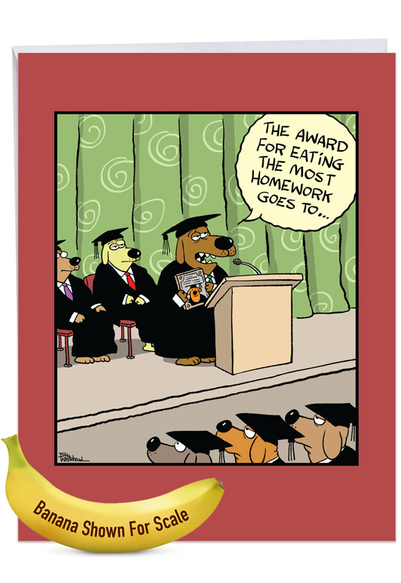 Dog Award: Funny Graduation Big Card