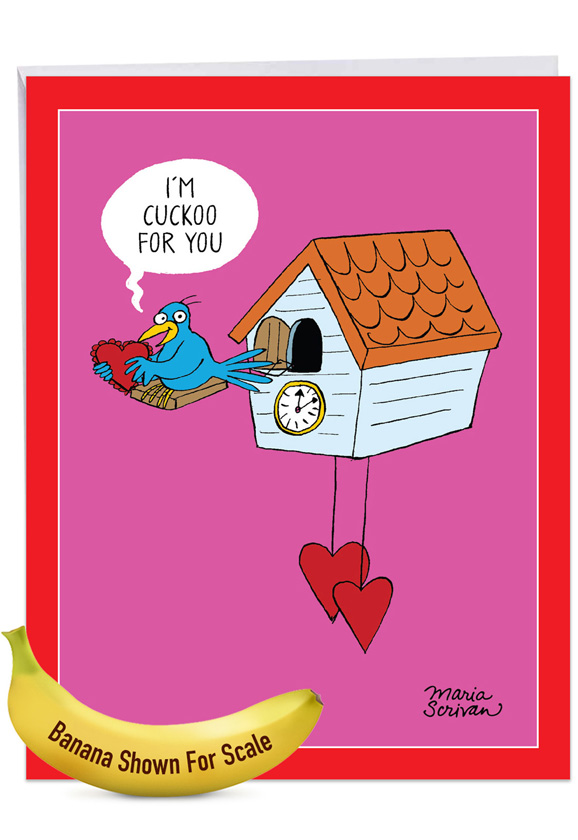Cuckoo For You: Funny Valentine's Day Over-sized Paper Greeting Card
