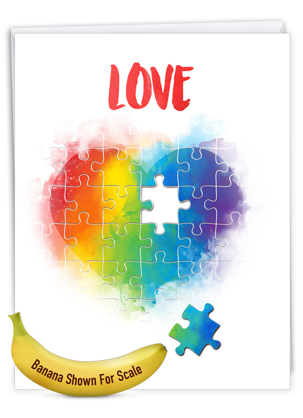 Jigsaw Hearts: Creative Valentine's Day Giant Printed Card