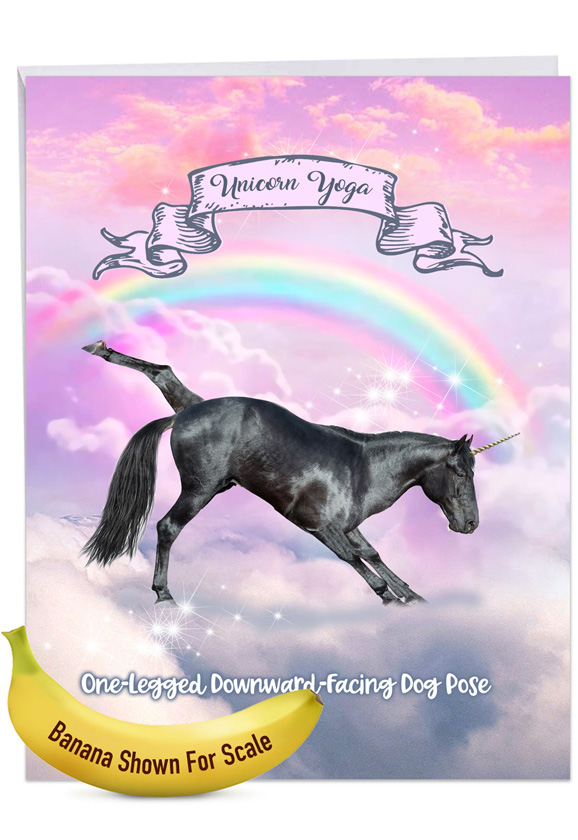 Rainbow Unicorn Yoga: Stylish Thank You Over-sized Paper Greeting Card