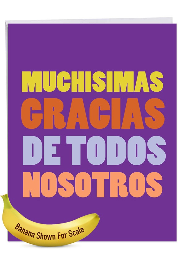 Big Muchas Gracias: Humorous Thank You Over-sized Paper Greeting Card