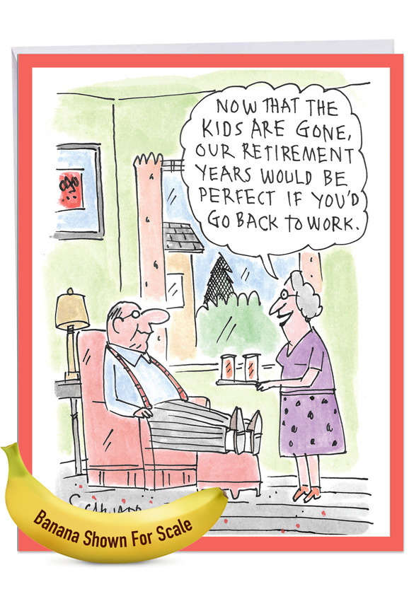 Back To Work: Funny Retirement Over-sized Paper Greeting Card