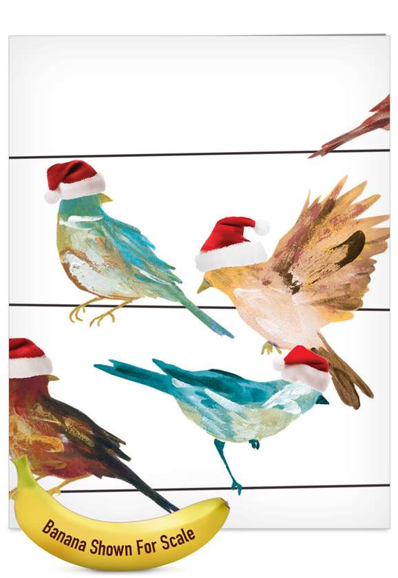 High Wire Birds: Creative Christmas Jumbo Paper Greeting Card