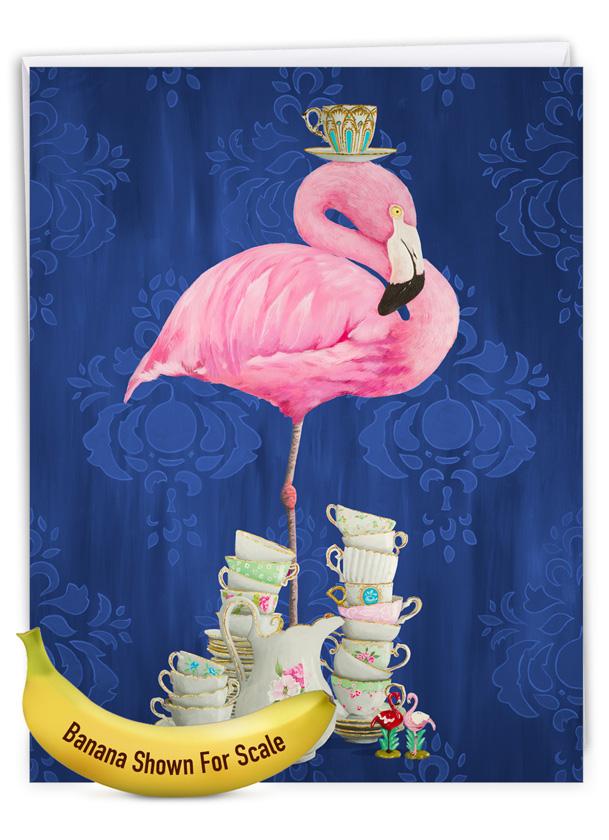 Fancy Wildlife - Flamingo: Creative Birthday Large Greeting Card