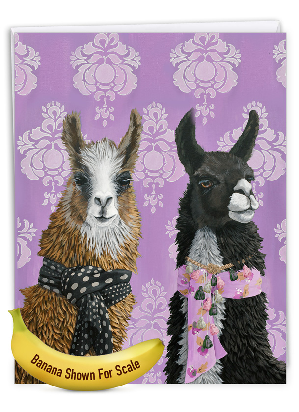 Fancy Wildlife - Llamas: Stylish Birthday Extra Large Paper Card