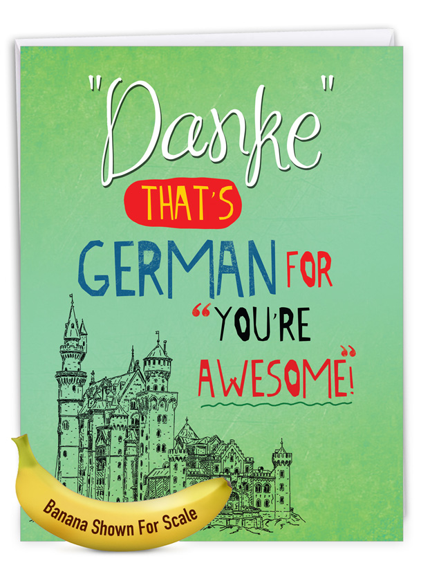 Danke You're Awesome: Humorous Thank You Over-sized Paper Greeting Card