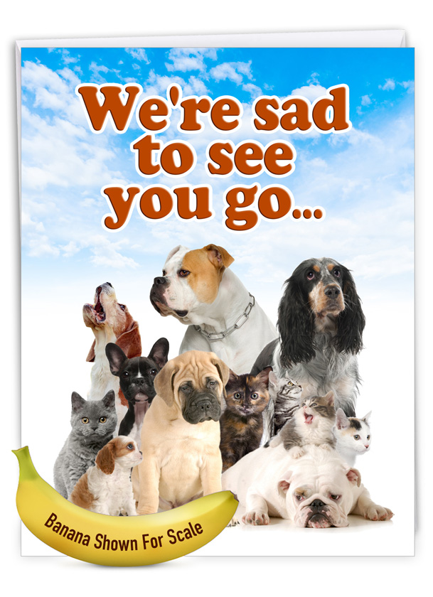 Pet Coworkers: Funny Retirement Big Card