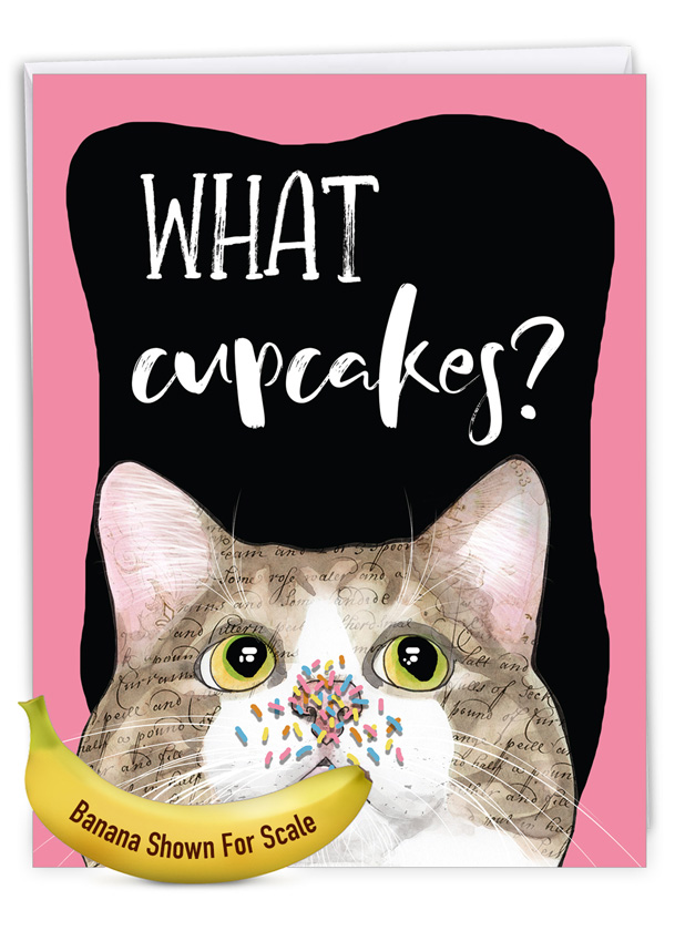 Cat Antics - Cupcakes: Hilarious Birthday Large Greeting Card
