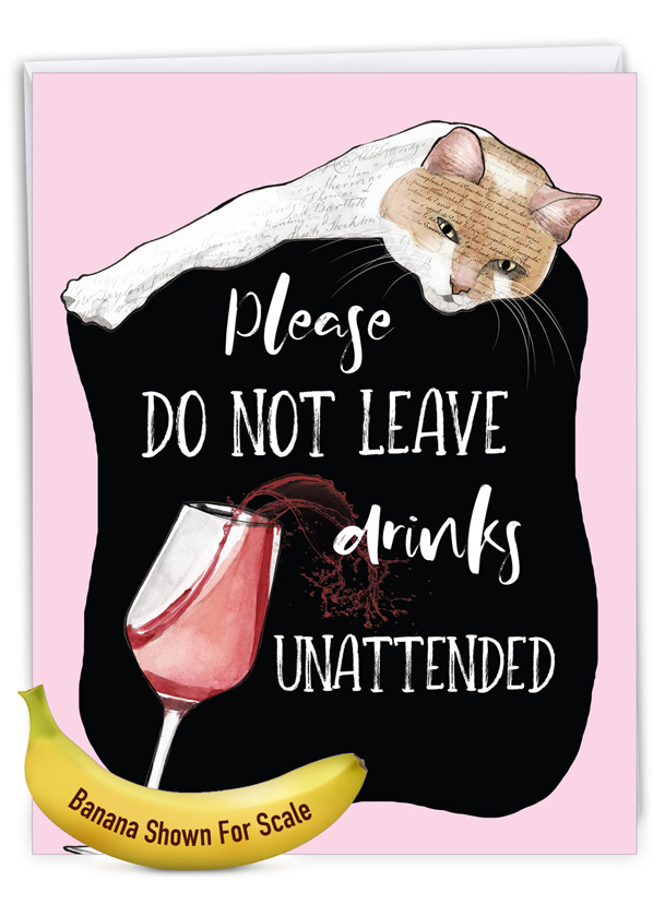 Cat Antics - Drinks: Humorous Birthday Extra Large Paper Card