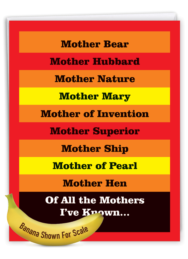 Many Mothers: Hysterical Mother's Day Large Greeting Card