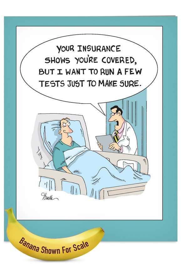Insurance Tests: Humorous Get Well Jumbo Printed Card