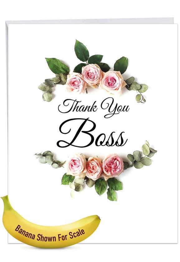 Elegant Flowers: Stylish Boss Thank You Extra Large Paper Card