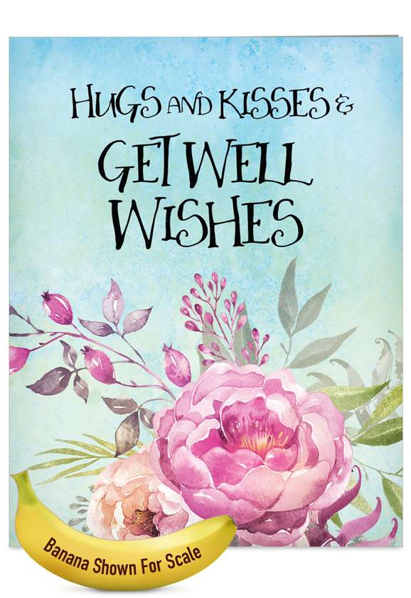 Get Well Florals: Stylish Get Well Jumbo Paper Greeting Card