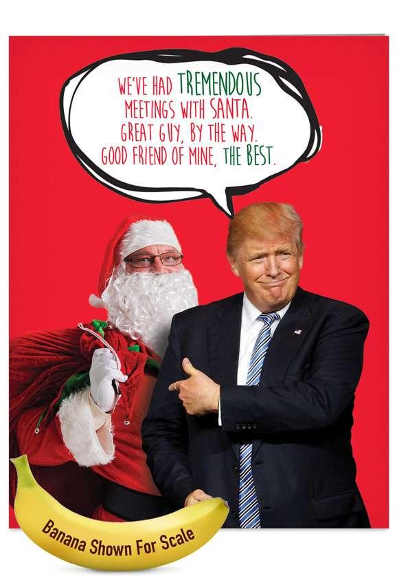 Trump Meetings With Santa: Hysterical Christmas Jumbo Paper Greeting Card