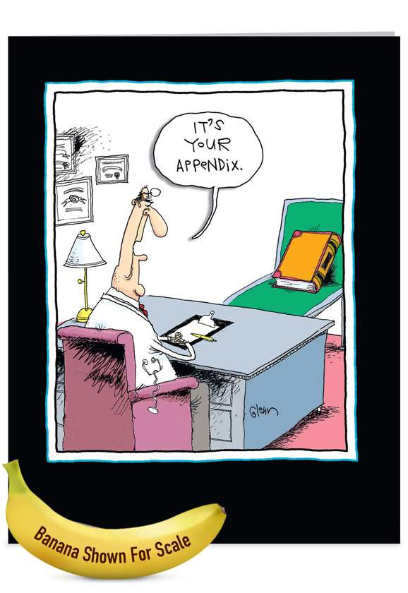 Your Appendix: Humorous Get Well Jumbo Printed Greeting Card